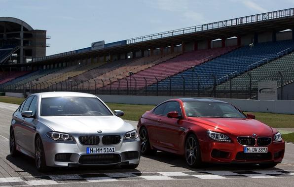 Картинка трасса, вид спереди, автомобили, and, BMW M5, Competition Package, BMW M6 Coupe