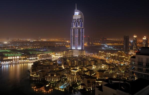 Картинка вода, ночь, город, пальмы, дома, Дубай, отель, Dubai, Emirates, United, Cities, Arab, naght, Арабске, Емираты, …