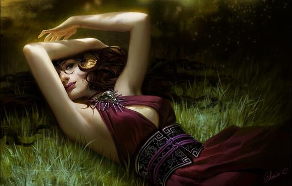 Картинка трава, девушка, волосы, платье, арт, лежит, janaschi