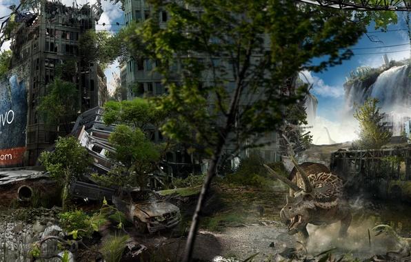 Картинка город, здания, разруха, динозавры, постапокалипсис, Берлин, Alexander Koshelkov, Dual Monitor