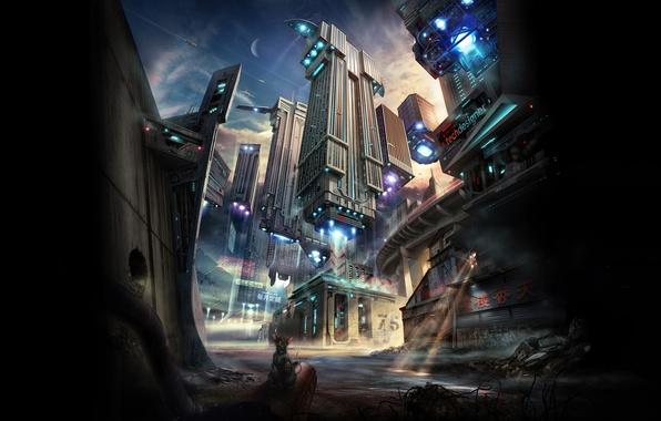 Картинка свет, город, будущее, фантастика, здания, корабли, луч, освещение, future, крыса, парение