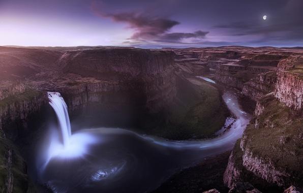 Картинка небо, облака, ночь, луна, водопад, месяц, долина, каньон, Вашингтон, США, сиреневое, штат