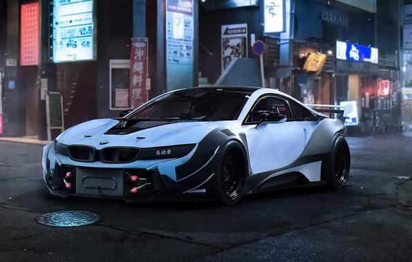 Картинка BMW, City, Car, Race, Night, White, Tuning, Future, by Khyzyl Saleem