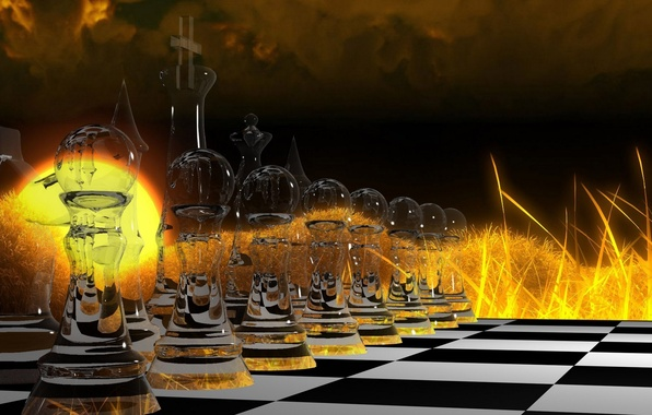 Картинка стекло, абстракция, огонь, игра, шахматы, abstract, клетки, fire, glass, доска, game, фигуры, стратегия, strategy, чёрное …