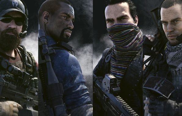 Картинка взгляд, оружие, дым, часы, наушники, маска, команда, кепка, борода, друзья, Ubisoft, бойцы, Ghost Recon, Tom …
