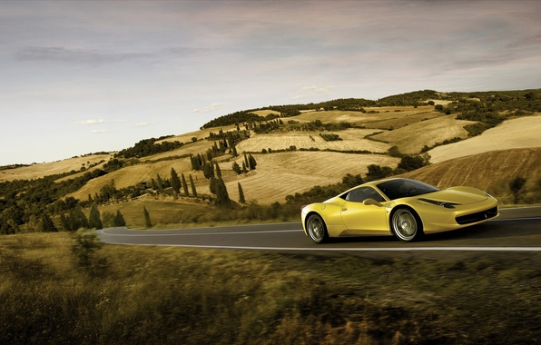 Картинка дорога, скорость, ferrari, 458, italia