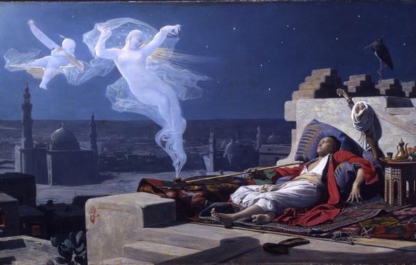 Картинка крыша, ночь, здания, трубка, картина, нож, восток, мечеть, тапки, smoke, night, Жан Леконт дю Нуи, …