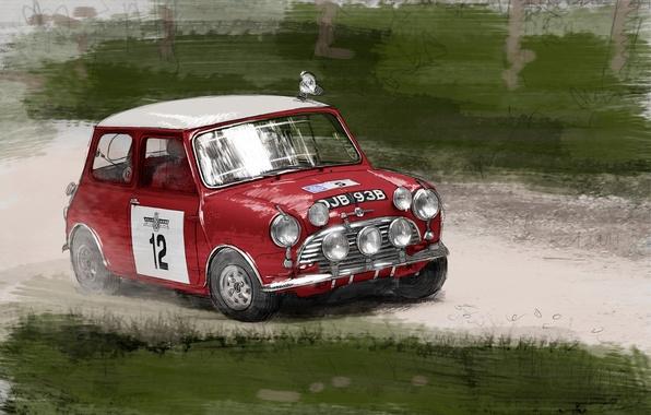 Картинка рисунок, Mini Cooper, Автомобиль, Мини Купер