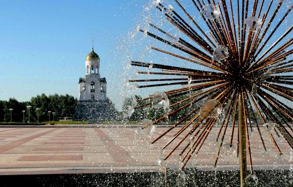 Картинка город, площадь, фонтан, Россия, часовня, Каменск-Уральский