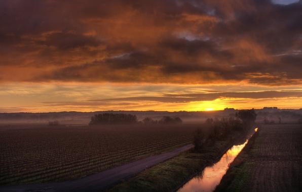 Картинка поле, солнце, туман, рассвет, утро, канал