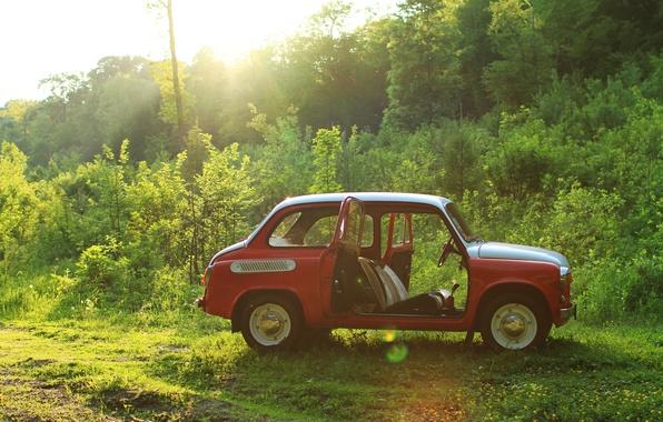 Картинка машина, авто, природа, ретро, обои, ссср, wallpaper, классика, cars, заз, запорожец, запор