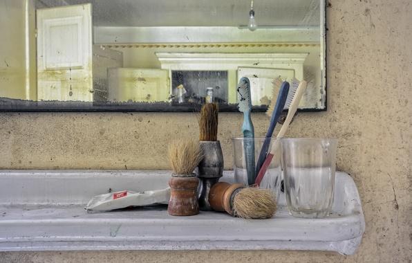 Картинка фон, зеркало, кисти