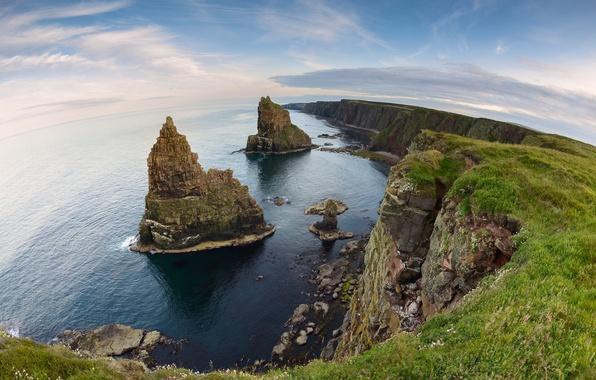 Картинка скалы, побережье, Шотландия, Scotland, Северное море, North Sea, Duncansby Stacks, Caithness