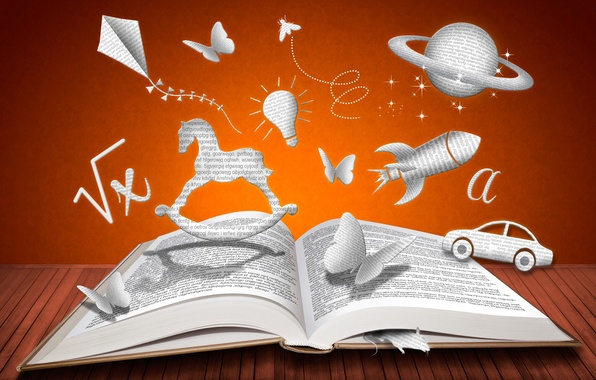 Картинка лампочка, креатив, бабочка, планета, мышь, ракета, воздушный змей, книга, фигуры, страницы, лошадка