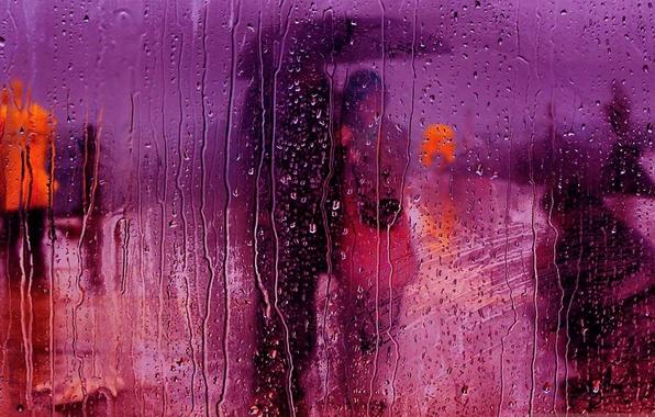Картинка стекло, капли, дождь, улица, зонт, сюжет, пара