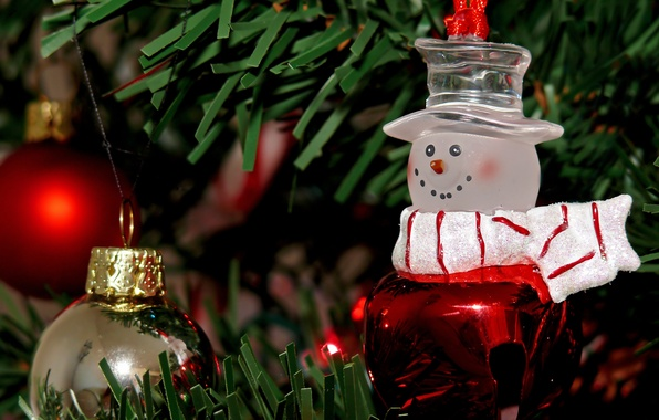 Картинка праздник, шары, игрушки, новый год, рождество, снеговик, ёлка, christmas, new year, хвоя