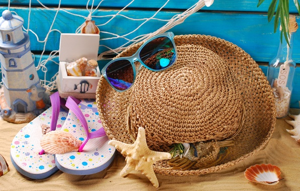 Картинка песок, пляж, лето, отдых, шляпа, очки, ракушки, summer, beach, sand, marine, still life, vacation
