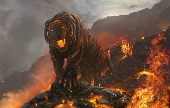Картинка кошка, горы, тигр, огонь, арт, пасть, лава