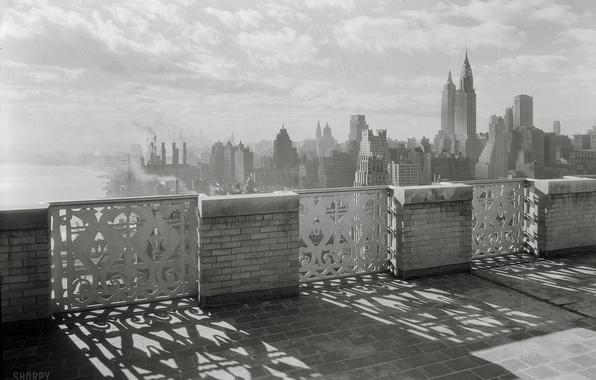 Картинка ретро, обои, фотография, завод, чёрно-белое, Нью-Йорк, wallpaper, небоскрёбы, площадка, new york, декабрь, смотровая, 1931