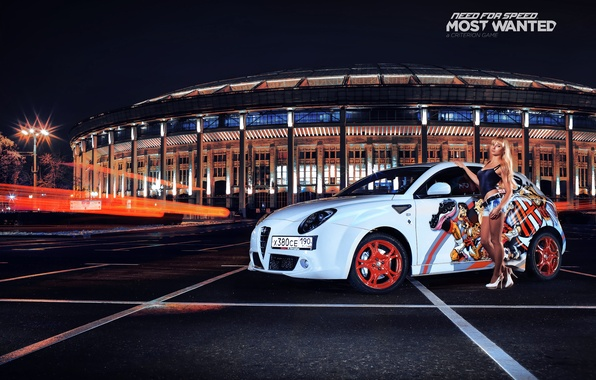 Картинка блондинка, белая, Alfa Romeo, парковка, nfs, most wanted, smotra, Mito