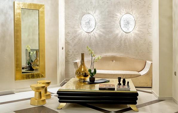 Картинка цветок, Стол, зеркало, книга, ваза, софа, орхидея
