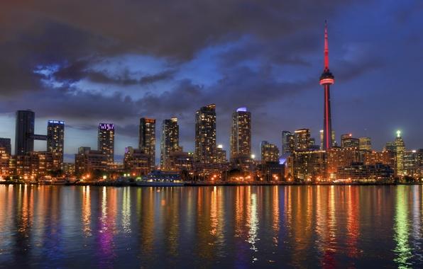 Картинка lights, огни, отражение, Канада, Торонто, Canada, Toronto, reflection, Lake Ontario, озеро Онтарио