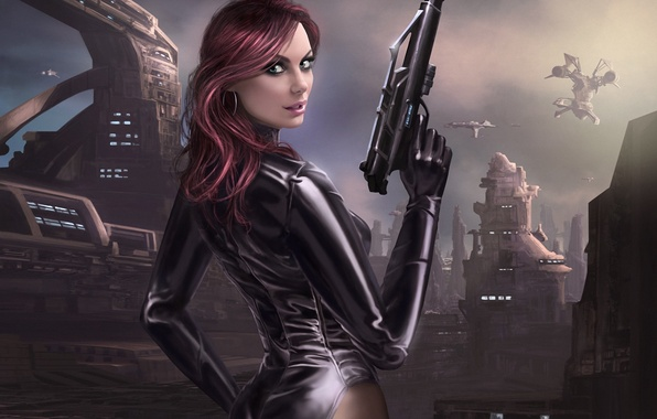 Картинка пистолет, оружие, планета, корабли, станция, арт, база, девушка. спиной