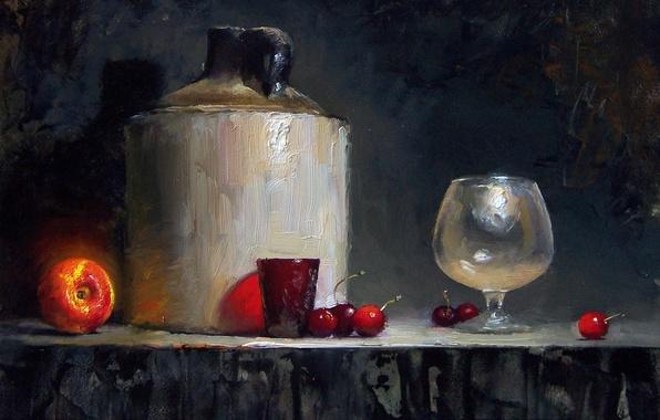 Картинка свет, вишня, стакан, ягоды, стол, фон, темный, бокал, тень, картина, фрукты, натюрморт, персик, David Cheifetz