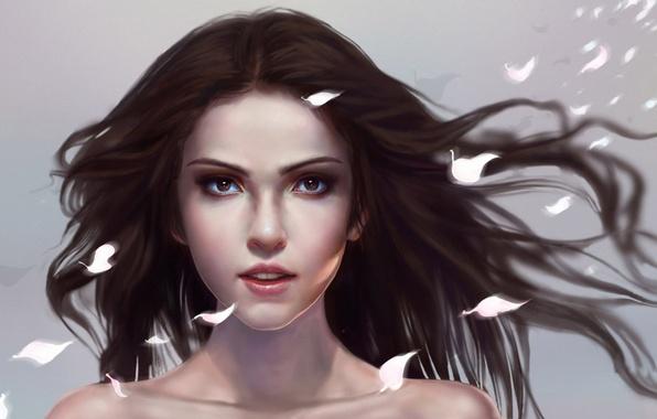 Картинка девушка, лицо, волосы, лепестки, арт