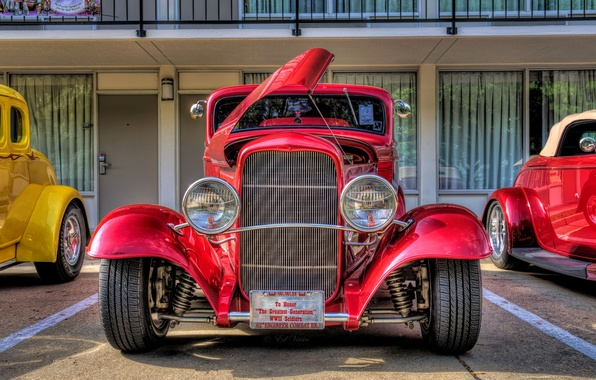 Картинка Ford, hdr, red, style, retro, coupe, oldtimer