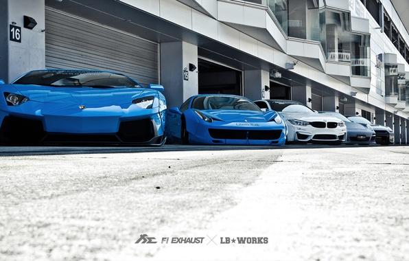 Картинка машины, тюнинг, Lamborghini, Porsche, BMW, Ferrari, Nissan, гаражи, Liberty Walk