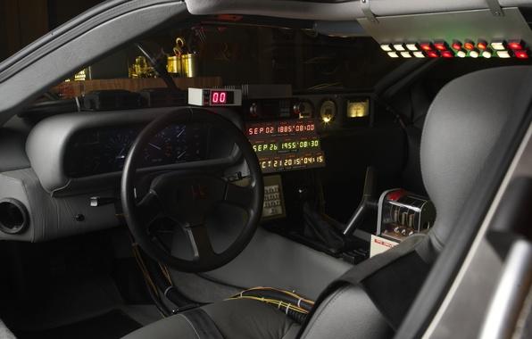 Картинка Приборная панель, Delorean, Back to the future, Машина времени, Time machine, Рабочее место темпонавта