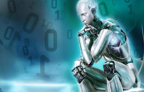 Фото обои цифры, робот