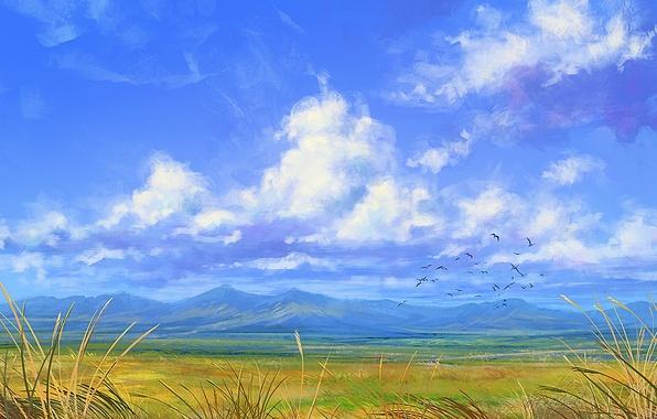 Картинка облака, горы, птицы, ветер, арт, нарисованный пейзаж