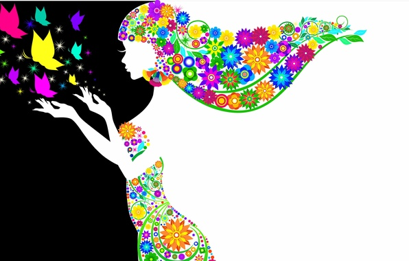 Картинка девушка, бабочки, цветы, белое, волосы, руки, платье, черное, силуэт. профиль