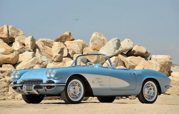 Картинка авто, ретро, камни, 1953, кабриолет, классика, chevrolet, corvette c1