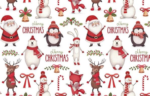 Картинка фон, праздник, текстура, олень, Новый год, рога, пингвин, конфета, Санта Клаус, колокольчик, шарфик, зайчик, бантик, …