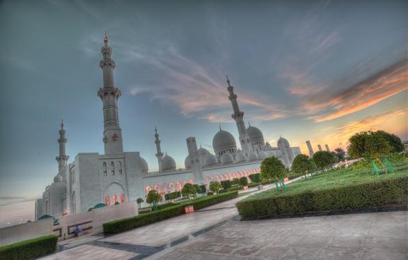 Картинка закат, Abu Dhabi, ОАЭ, Мечеть шейха Зайда, Абу-Даби, UAE, Sheikh Zayed Grand Mosque