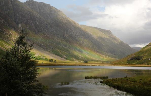 Картинка горы, природа, река, дерево, радуга, Шотландия, Великобритания, Paul Beentjes Photography, нагорье, River Coe
