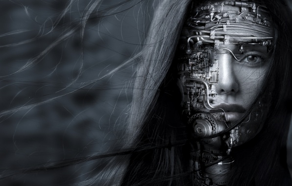 Картинка взгляд, девушка, лицо, волосы, робот, чёрно-белая, монохром