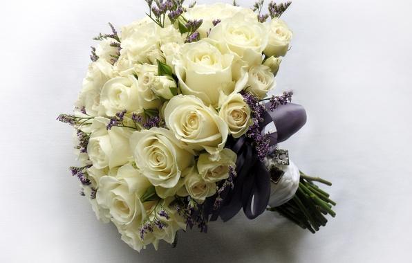 Картинка фото, Цветы, Белый, Букет, Розы