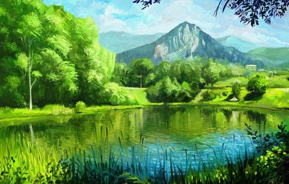 Картинка лето, трава, деревья, горы, природа, озеро, арт, живопись, зелено