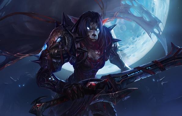 Картинка ночь, луна, кровь, меч, доспехи, шипы, WoW, World of Warcraft, воительница, Worgen, горящие глаза