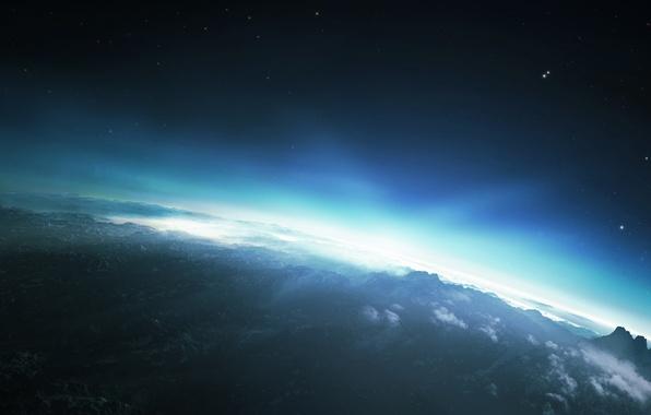 Картинка небо, солнце, звезды, облака, свет, горы, восход, планета