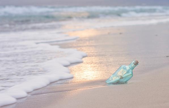 Картинка песок, море, письмо, вода, природа, река, фон, widescreen, обои, волна, бутылка, wallpaper, записка, sea, nature, …