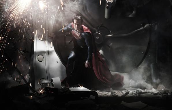 Картинка искры, костюм, мужчина, superman, плащ, супермен, супергерой, супермэн