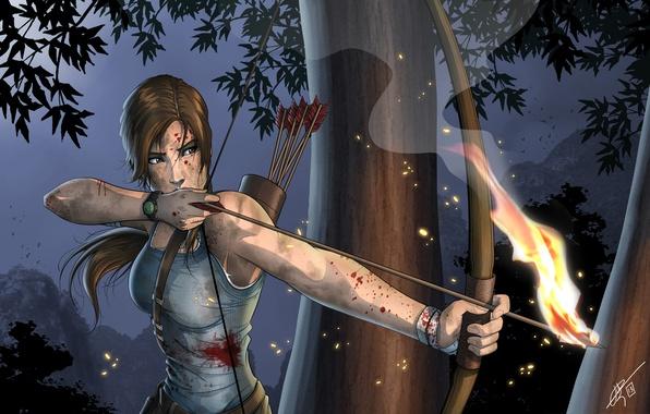 Картинка лицо, оружие, огонь, кровь, волосы, майка, лук, арт, стрелы, целится, хвостик, лара крофт, Lara Croft, …