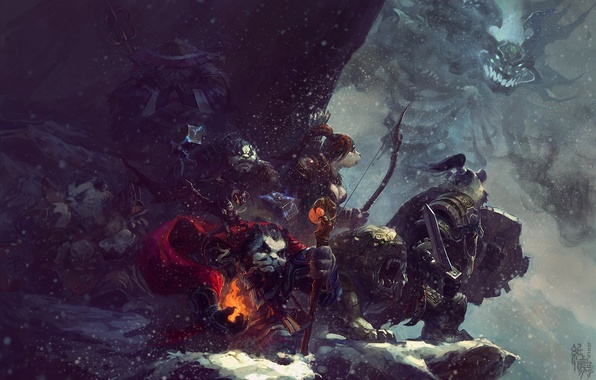 Картинка снег, горы, оружие, магия, монстр, арт, посох, World of Warcraft, панды, Mists of Pandaria