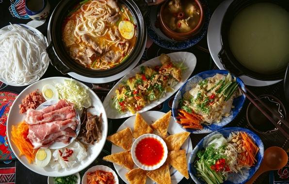 Картинка суп, мясо, овощи, соус, блюда, ассорти, лапша