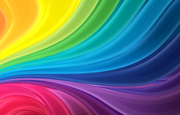 Картинка волны, абстракция, полосы, радуга